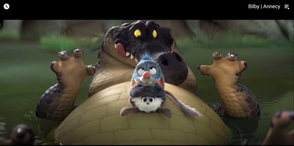 שני יצורים פרוותיים על בטן של תנין. מתוך הסרט bilby