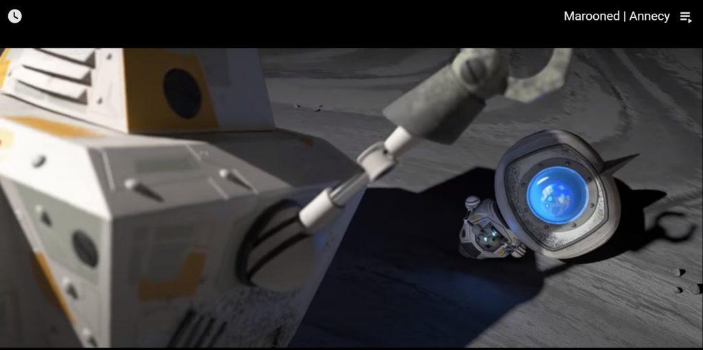 """שני רובוטים בירח. אחד מנסה להסתיר לשני את הנוף של כדוה""""א. מתוך הסרט marooned"""