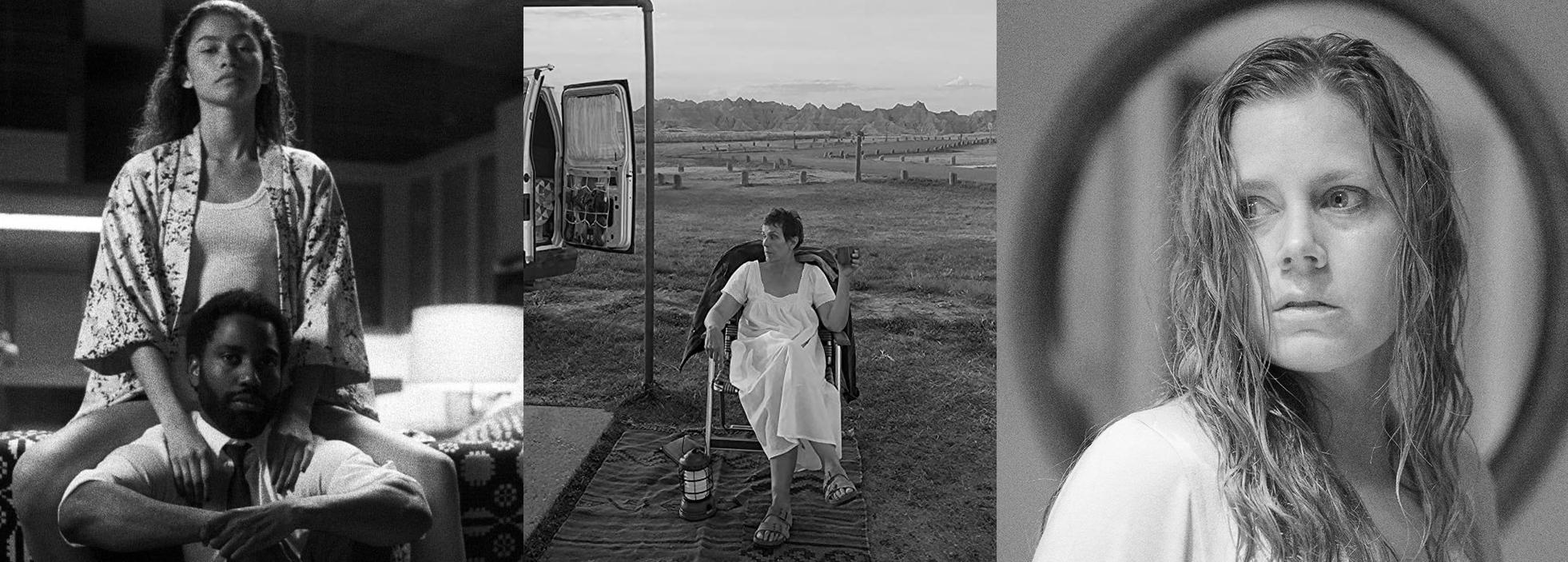 קולאז׳ המורכב מתמונות מהסרטים: האישה בחלון, ארץ הנוודים, מלקולם ומארי