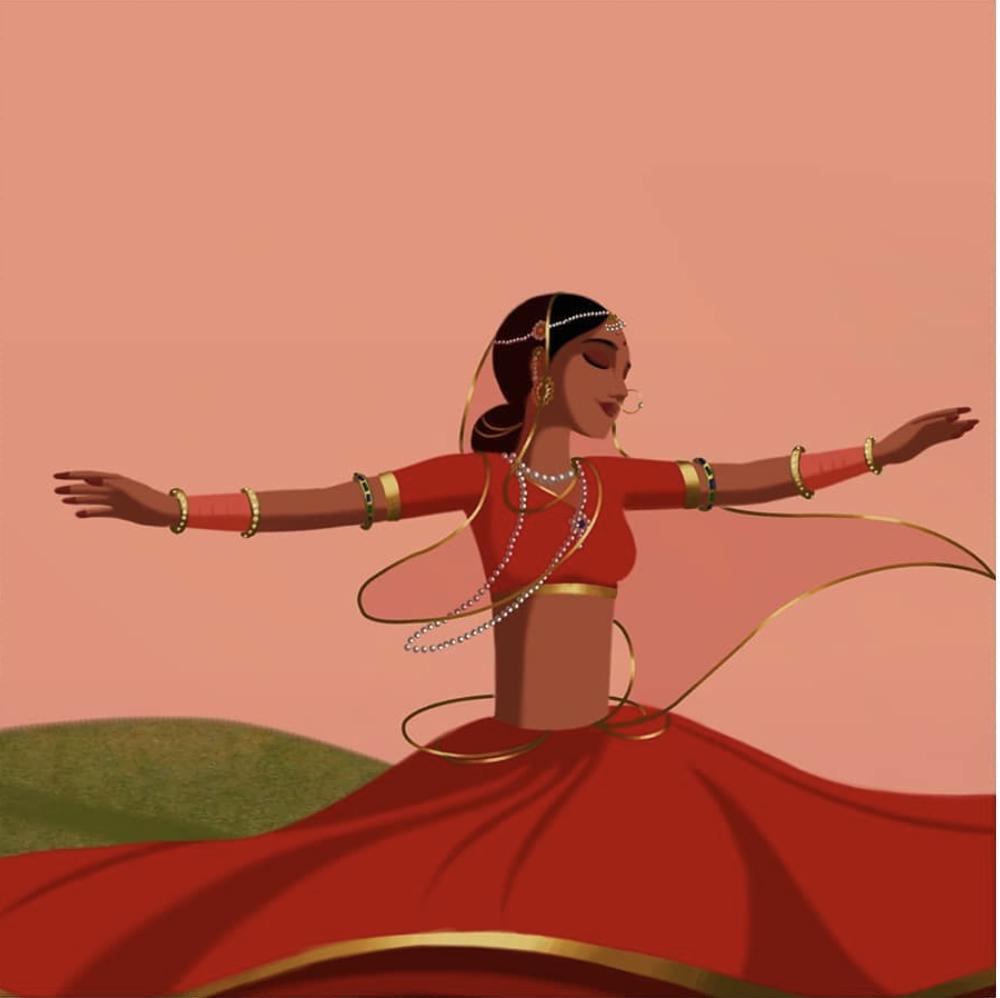 קאמלה רוקדת ומנופפת בשמלתה