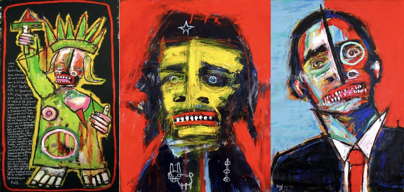 ״להיות שונה״. ״צ׳ה״. ״שיר החירות״.(מימין לשמאל). ציורו של מאט סזוב