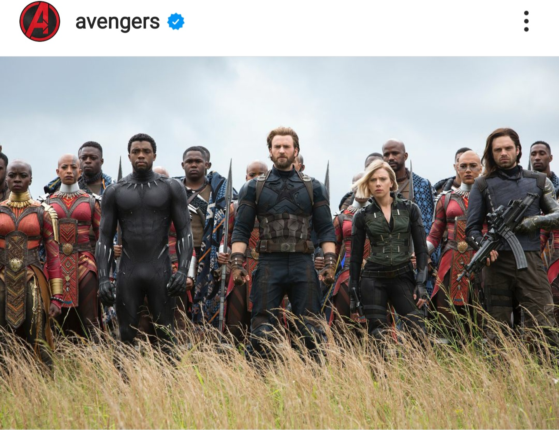 """תמונה של השחקנים המשחקים את חבורת גיבורי העל """"האוונגרס"""" בשדה"""